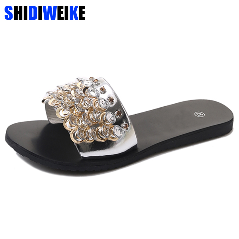 Bling Bling 2018 Summer Shoes Woman Fashion Diamond Flat Heels Female Cool Slippers Crystal Beach Slides Shoes Sandals m558