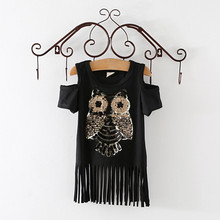 Sequins Owl Kids girls T shirt Short sleeve children t shirts for girl top clothes clothing Summer Spring