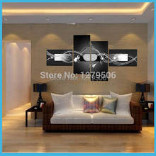 Hand Painted 4 Piece Modern Abstract Dancing Lines Oil Paintings On Canvas Wall Art Home Decorations For Living Room