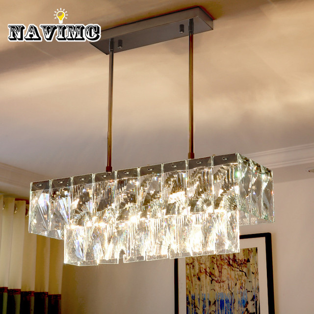 Modern rectangular crystal chandelier lighting for dining room modern rectangular crystal chandelier lighting for dining room restaurant hanging crystal pendant lamp length 60cm mozeypictures Choice Image