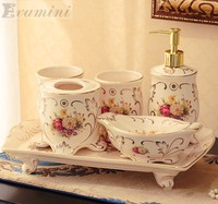 Wedding Decoration Ceramic Bathroom Set Five Piece Of Bathroom Item Fashion Modern Toothbrush Holder Bathroom Accessories