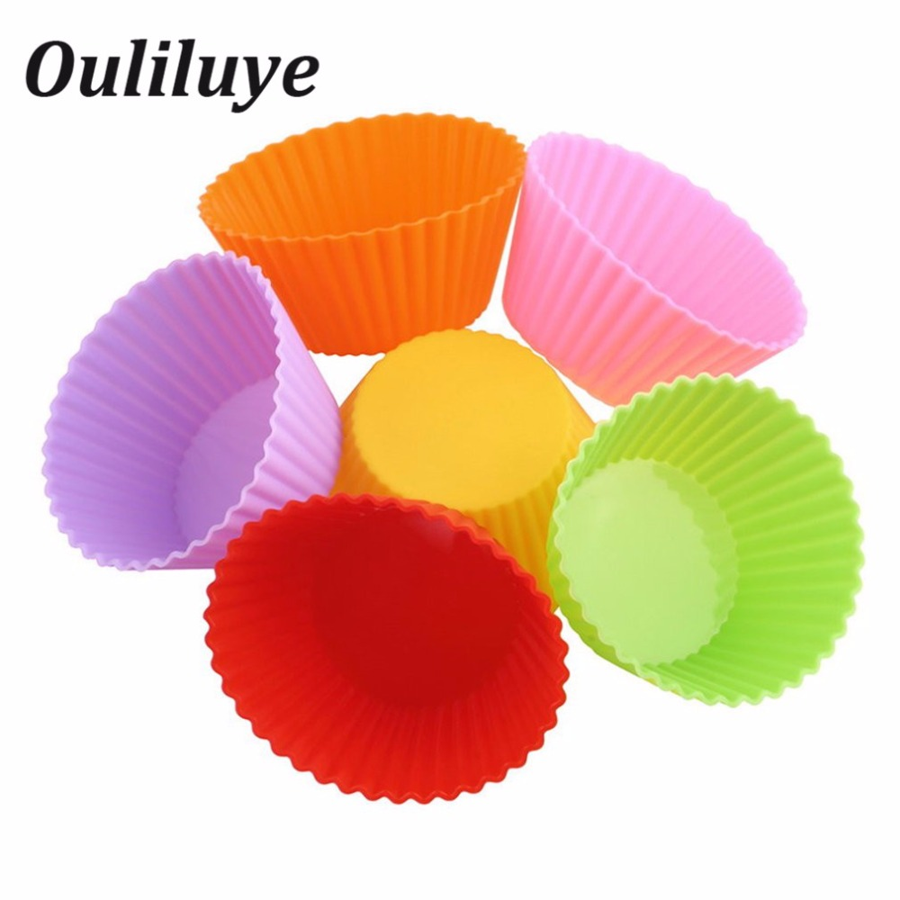 6/12PCS Silicone Moulds For Baking Muffin Cupcake Molds Convenient Cake Decorating DIY Forms Random Color