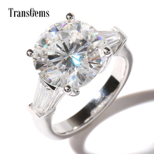 TransGems Luxury 5 Ct Carats EF Colorless Moissanite Simulted Diamonds Accents Wedding Ring Solid 14K White Gold Engagement Band