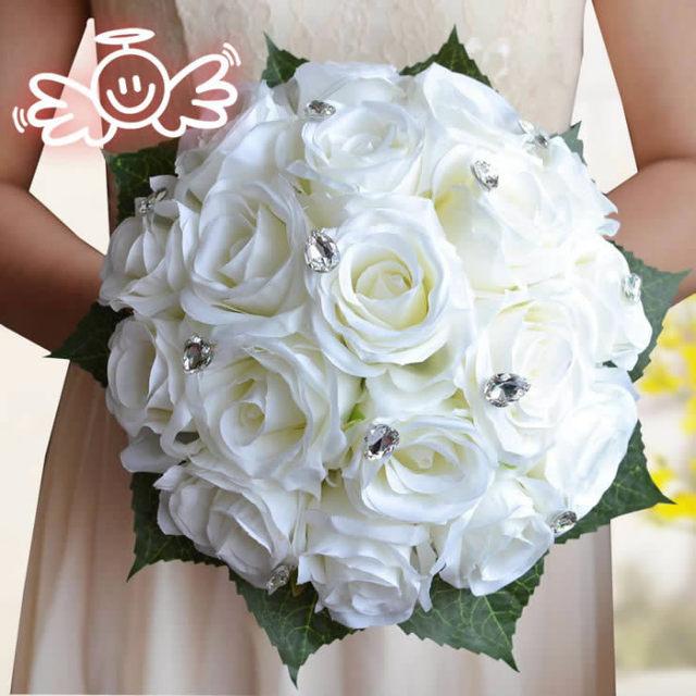 Artificial Silk Cream Red Rose Wedding Decoration Flower Handmade Bridal Bouquet Bridesmaid bride wedding bouquet Crystal FW162