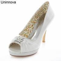 Pleated Ivory White Silver Crystal Platform Wedding Party Banquet Bridal Marriage Shoes 4 Inches High Heels