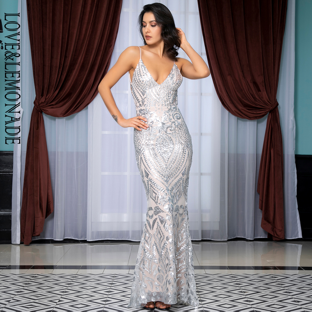 Love Lemonade Sexy Deep V Neck Open Back Silver Sequins Slim Long Dress LM81632