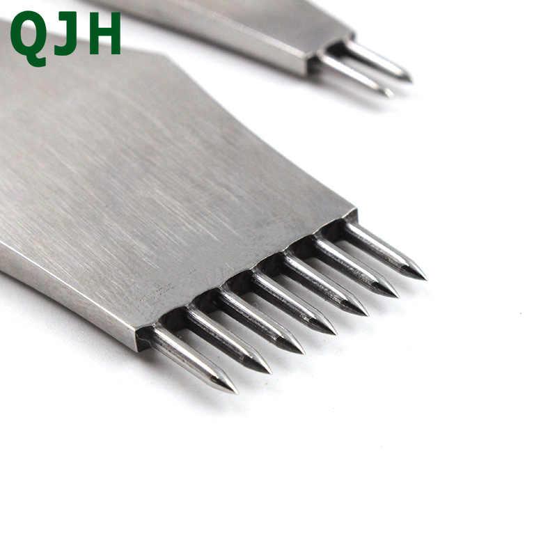 Die-stali nierdzewnej skórzany punktak pneumatyczny okrągły otwór Craft skóra dłuta kłucia żelaza szwy narzędzia do skóry 3/4/5mm rozstaw