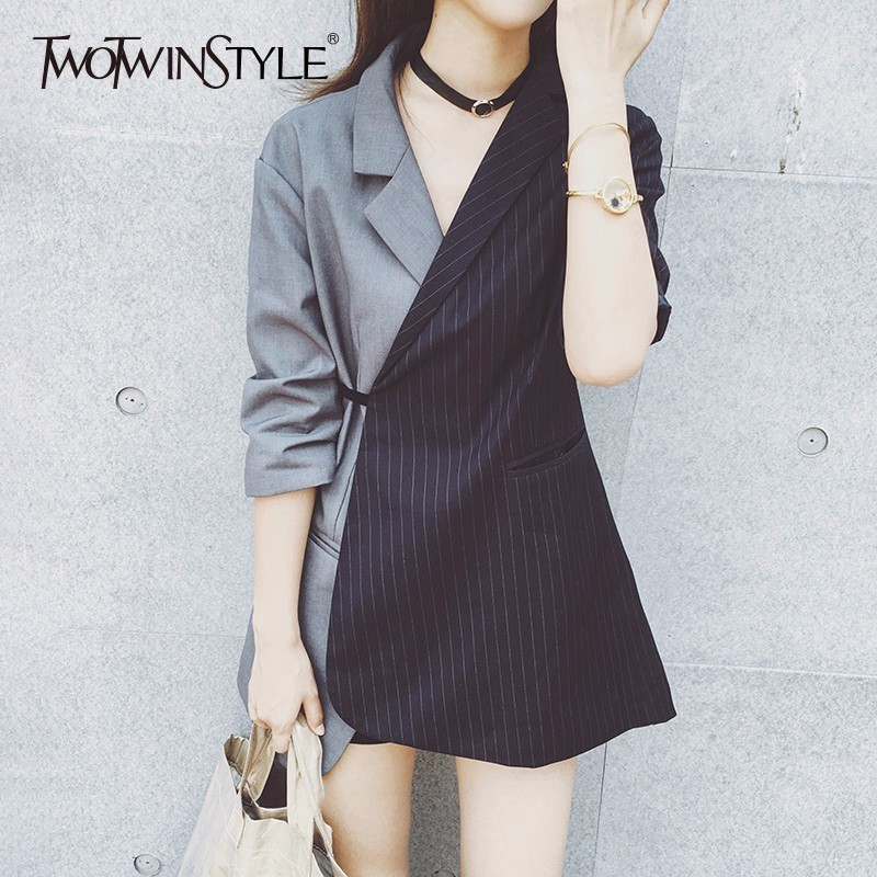TWOTWINSTYLE Patchwork Blazer For Women Striped Lace Up Tunic Long Sleeve Asymmetrical Coat Female Summer Fashion
