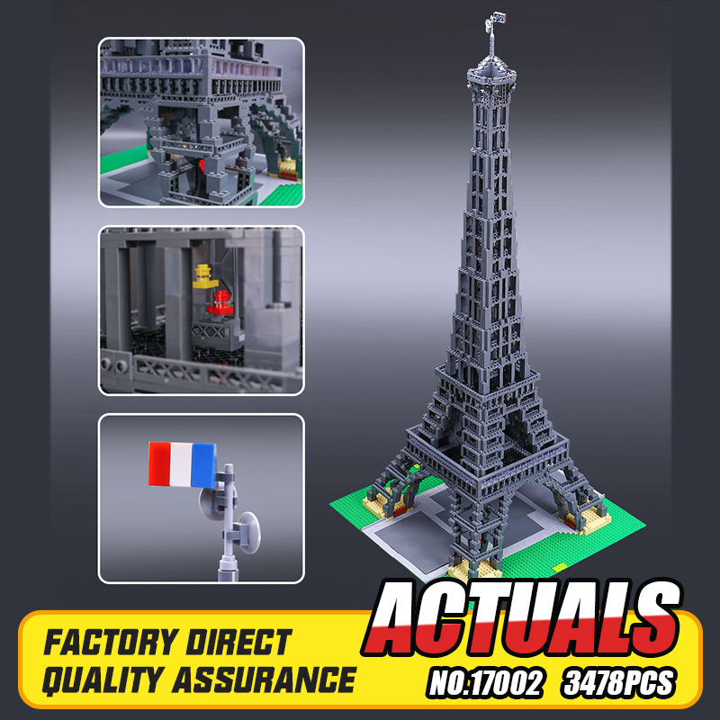 New LEPIN 17002 3478pcs The Eiffel Tower Model Building Kits Brick Toys Compatible 10181 Christmas Gift lepin 22001 pirate ship imperial warships model building block briks toys gift 1717pcs compatible legoed 10210