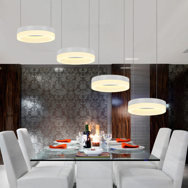 Remote Control Modern led Pendant Lights for dining room Acrylic Aluminum Circles led lamp fixtures AC85-265V