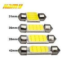 1x C10W C5W LED COB Festoon 31mm 36mm 39mm 41/42mm 12V 화이트 전구 자동차 번호판 인테리어 독서 등 6500K 12SMD
