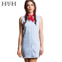 HYH HAOYIHUI Summer Womens Fashion Denim Sleeveleess Dress Burr Hem Casual Mini Vintage Slim Vestidos Short