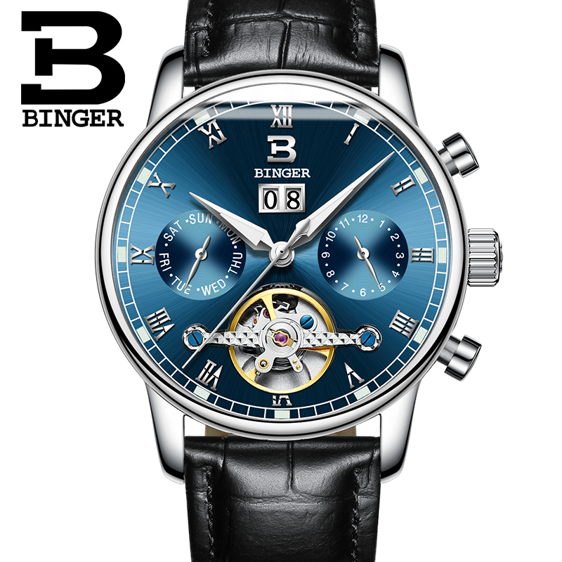 Suisse BINGER montre homme marque de luxe Tourbillon complet en acier inoxydable résistant à l'eau montre-Bracelet Mécanique B-8604-6