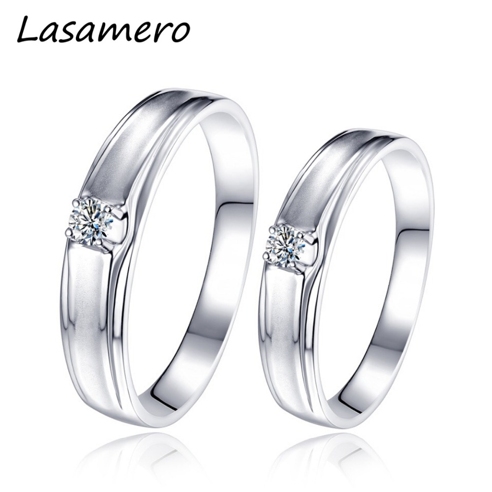 LASAMERO Rings for Men and Women 0.075CT Round Cut Natural Diamond Ring Couple Rings 18k White Gold Engagement Wedding RingLASAMERO Rings for Men and Women 0.075CT Round Cut Natural Diamond Ring Couple Rings 18k White Gold Engagement Wedding Ring
