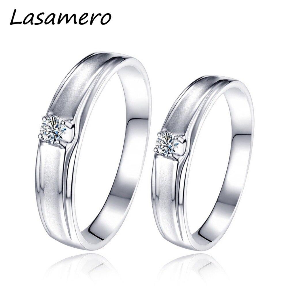 Lasamero Кольца для Для мужчин и Для женщин 0.075ct круглой огранки природных кольцо с бриллиантом пара Кольца 18 К белого золота Обручение Свадебны