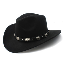 New Vintage Wool Western Cowboy Hat For Womem Men Wide Brim Cowgirl Jazz Cap With Leather Toca Sombrero Cap