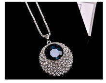 High-grade crystal round sweater chain long fashion wild autumn and winter necklace