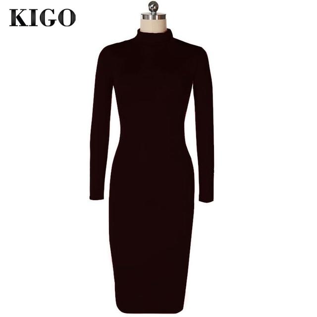 KIGO Kim Kardashian Dress Autumn Black Turtleneck Solid Vestidos Femininos Party Dress Sexy Long Sleeve Bodycon Bandage Dress 1