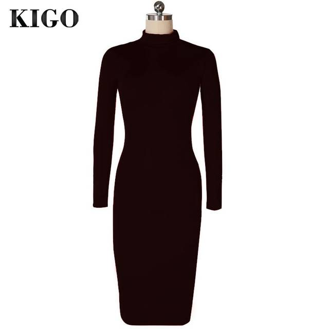 24be7410ab0 Online Shop KIGO Kim Kardashian Dress Autumn Black Turtleneck Solid  Vestidos Femininos Party Dress Sexy Long Sleeve Bodycon Bandage Dress
