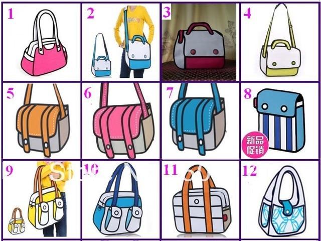 Free shipping by Fedex/DHL Cartoon bag 3d shoulder messenger bags  personalized fashion bag 12 types 100pcs/lot