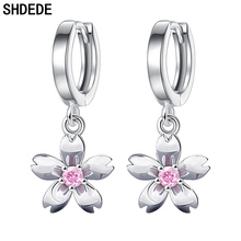 SHDEDE Cubic Zirconia Drop Earrings For Women Fashion Jewelry Flower Female Ladies Accessories Gift  *+WHE198 shdede white 7