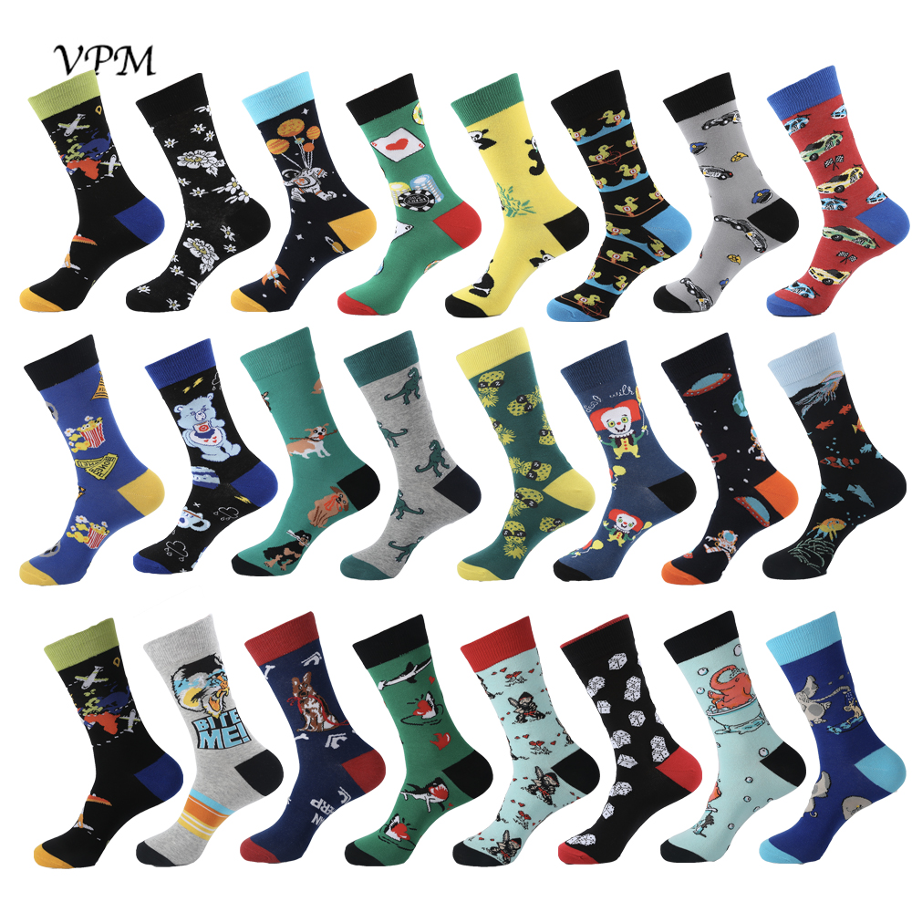 VPM New Colorful Cotton Cool Men's Crew   Socks   Harajuku Hip hop Cartoon Funny Beer Star Space Cat Dog   Socks   for Male Gifts