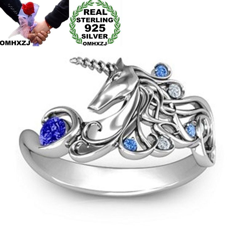 OMHXZJ Wholesale European Fashion Woman Man Party Wedding Gift Unicorn AAA Zircon AAA Zircon S925 Sterling Silver Ring RR294