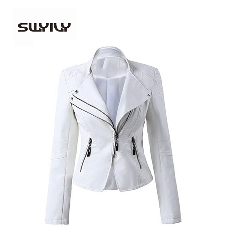 2016 Brand PU Leather Jackets Female White Red Black Leather Coat Motorcycle Cool Jackets Jaqueta Jaquetas De Couro Femininas