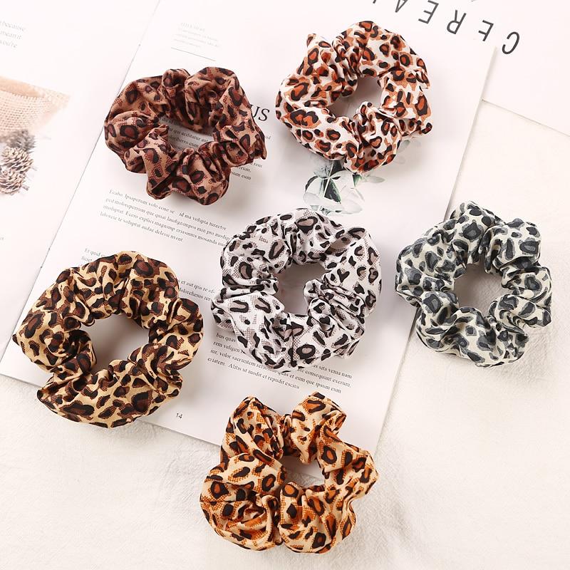 6Pcs/Lot New Women Leopard Print Rubber Bands Ponytail Accessories Girls Hair Ring Headwear Elastic Hair Rope Female Scrunchie