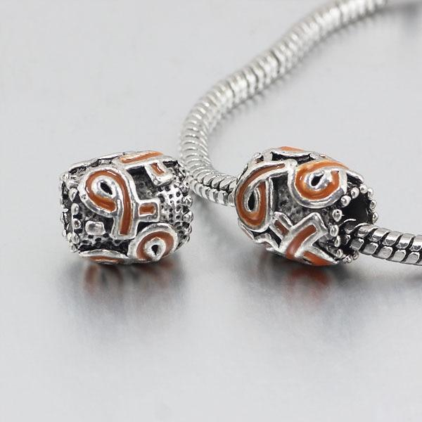 free shipping 1pc orange ribbon big hole Bead charms Fits European Pandora Charm Bracelets & Necklaces A135