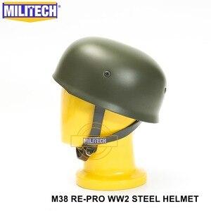 Image 3 - MILITECH OD WW2 German M38 Steel Helmet WW II M38 Green German Paratroop Helmet Genuine Leather World War 2 German M38 Helmet