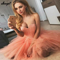 Sweetheart Homecoming Dresses 2019 Sexy Party Dresses Tulle Dress Beaded Mini Prom Gown vestidos de graduacion