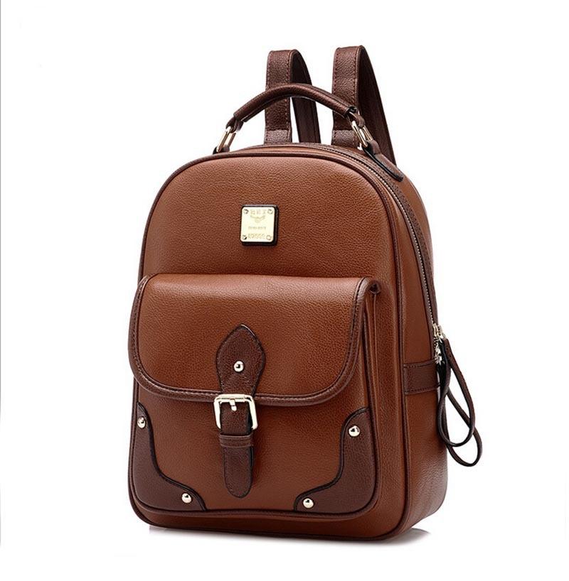 ФОТО Hotsale Vintage Rivet Brown Women Backpack for Girls Fashion Leather School Backpack  School Bags for Women Backpack