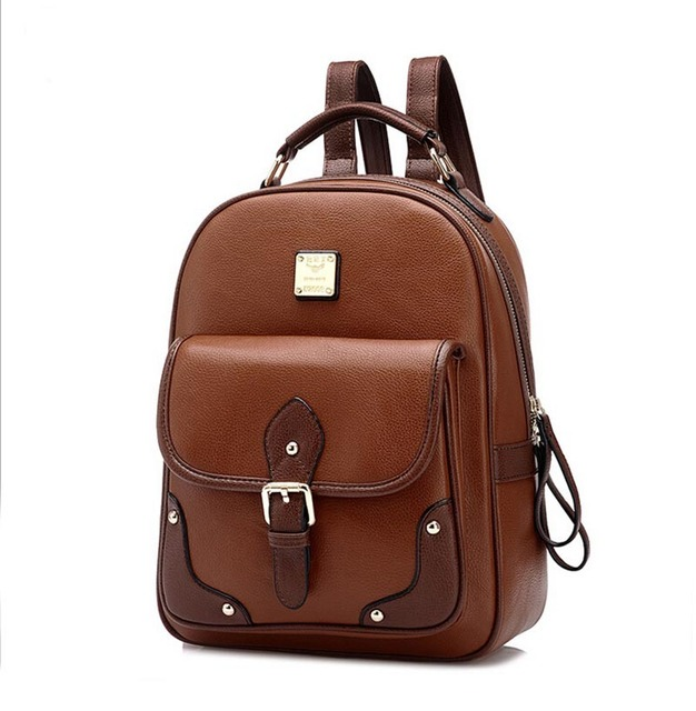 Hotsale Vintage Rivet Brown Women Backpack for Girls Fashion Leather School  Backpack School Bags for Women Backpack 922 4fb310ff45dce