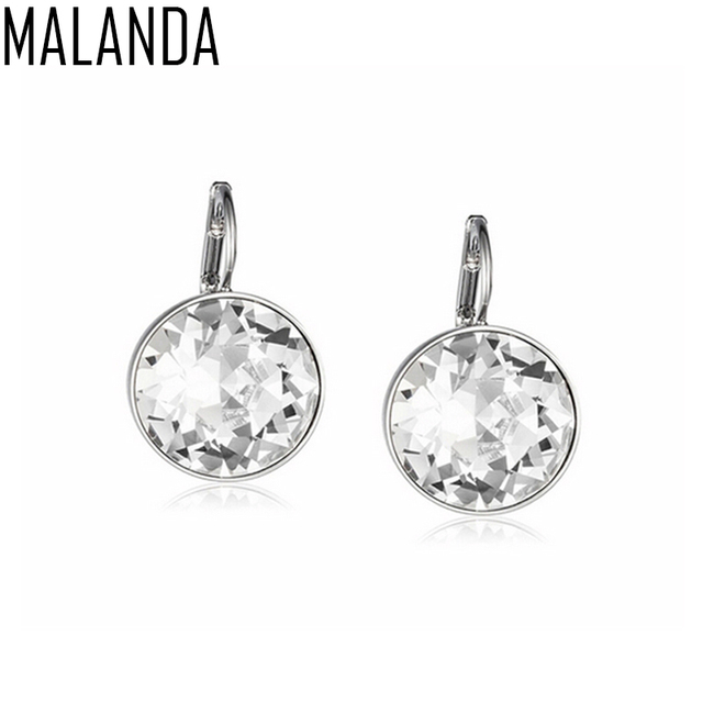 Malanda 2017 White Bella Crystal Earrings For Women Real From Swarovski Fashion Stud Party