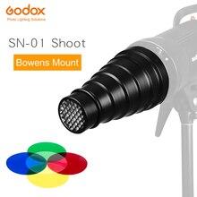 Godox SN 01 bowens grandes acessórios flash estúdio snoot profissional luz acessórios adequados para s tipo de300 sk400 ii
