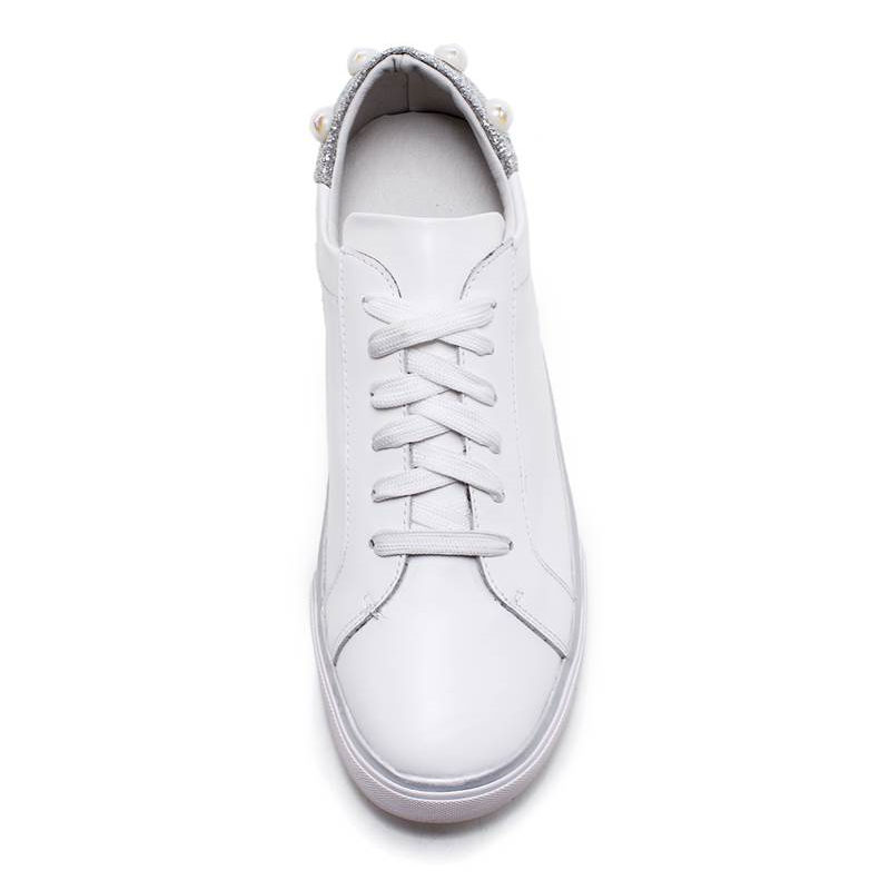 En Plat Dames Lacent Rond Rhinstone Memunia Mode D'été Femmes Nouveau forme 2018 Cuir Appartements Plate Bout Blanc Chaussures Véritable q87gxat8