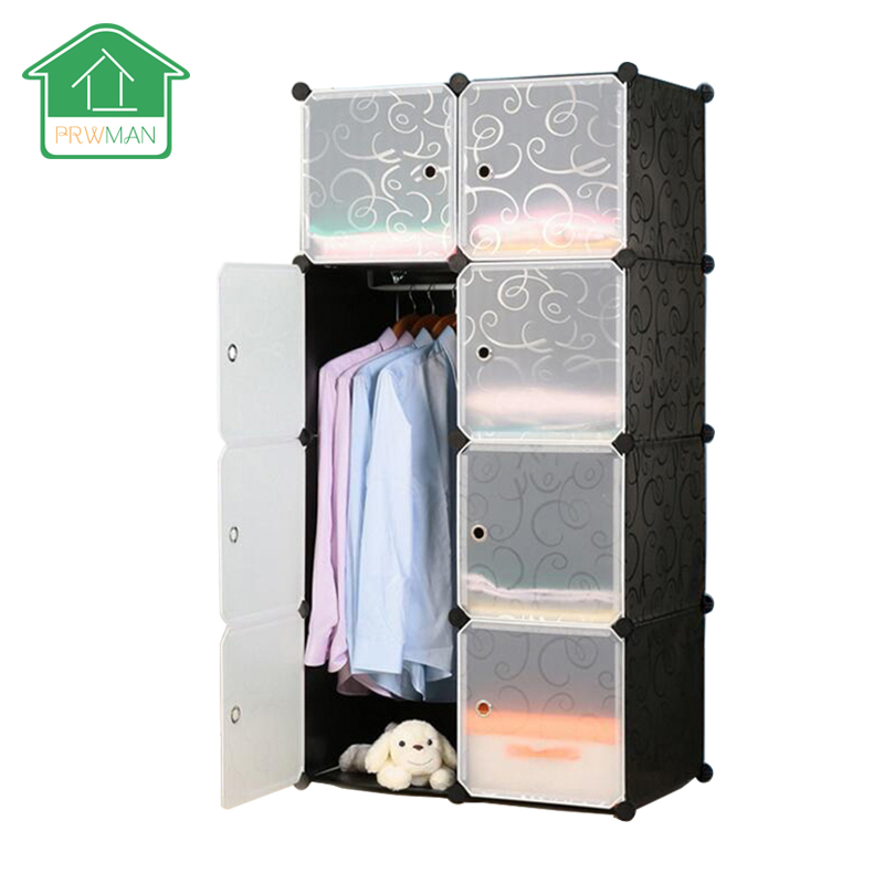 PRWMAN 8 Cube 1 Hook UP DIY Magic Piece of Resin Storage Cabinets Bedroom Wardrobe Furniture Assembly Dormitory Student Wardrobe
