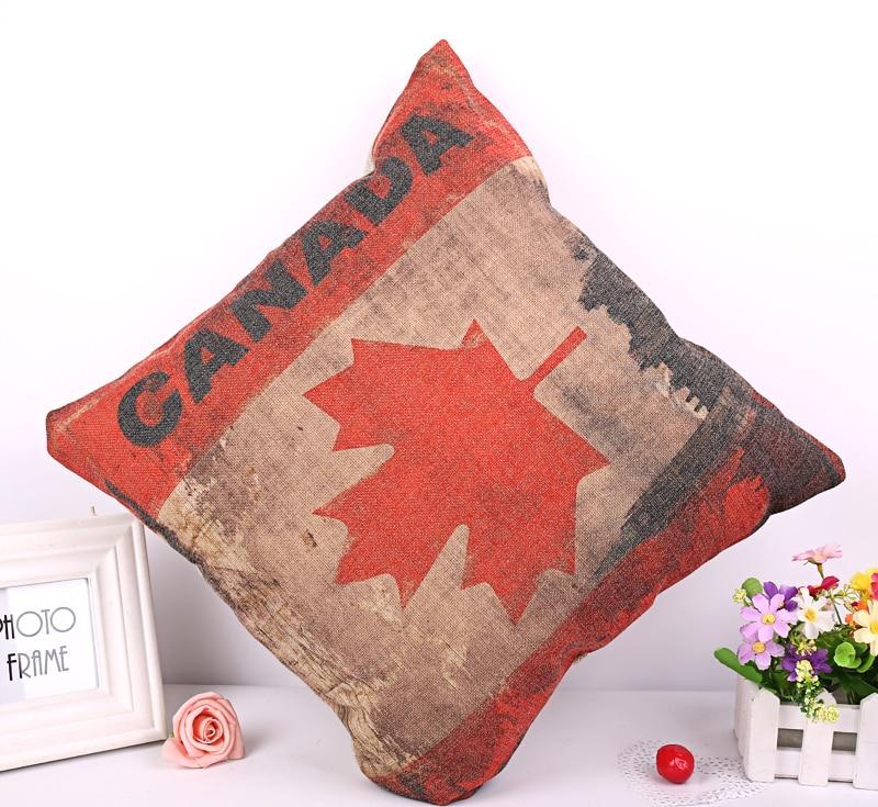 Linen Cotton Canada Flag Home Decor Cushion Cover 45x45cm Capa De Dlmofada Sofa Car Bedding