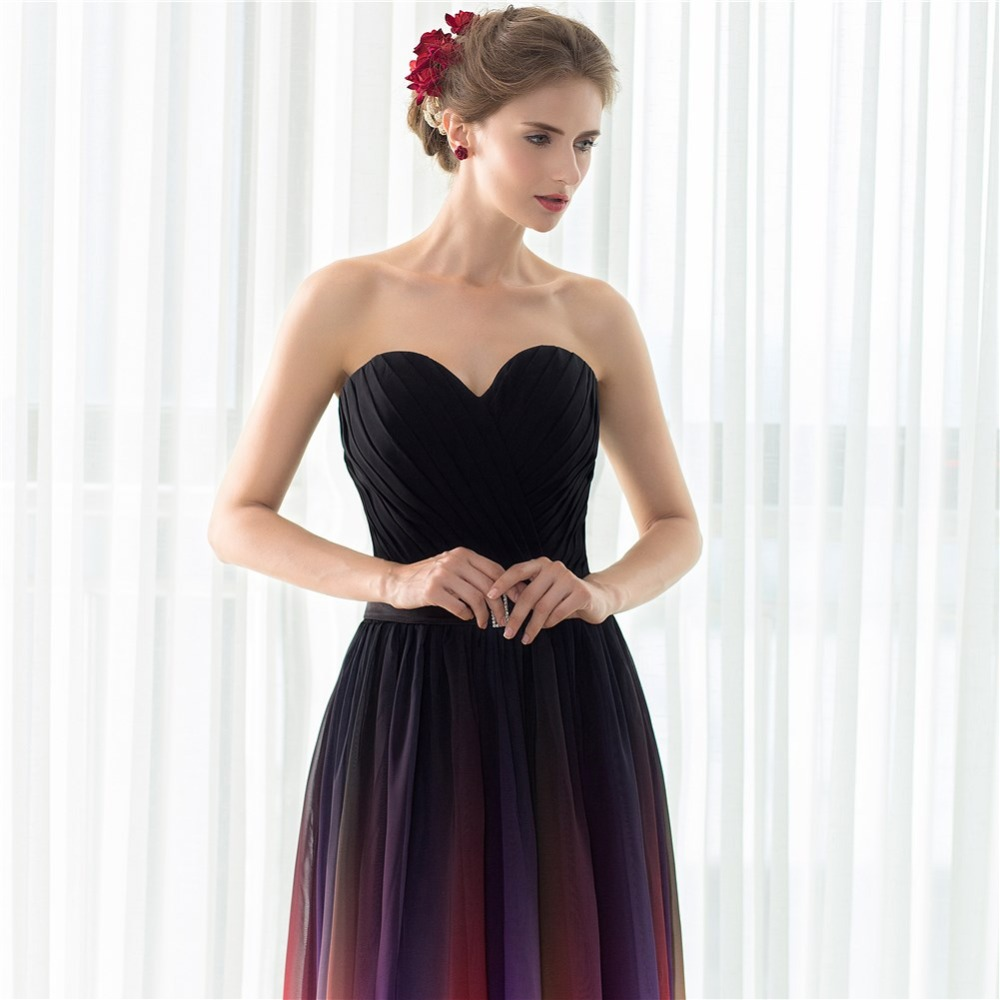 Ruthshen 2018 Cheap Gradient Prom Dresses Sweetheart Pleats Draped Ombre Chiffon Real Sample Evening Gowns Vestidos De Festa