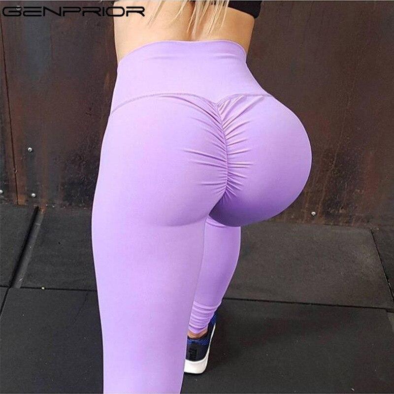 GENPRIOR High Waist Skinny Pants Leggings Exercise Workout Push Up Hip Lift Legging Elastic Fitness Pants Women Pencil Pants