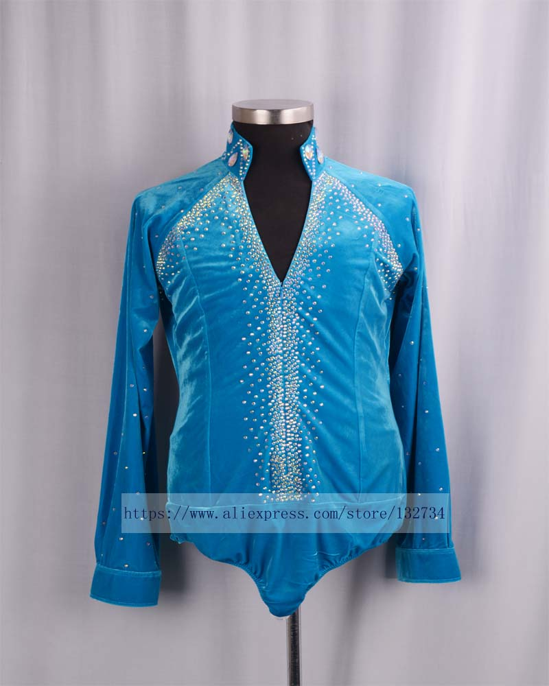 2018 New Arrival Ballroom Dancing Man Ballroom DanceTops Mens Ballroom Shirts Latin/Tango/Rumba Dancewear Shirt Top Bule velvet