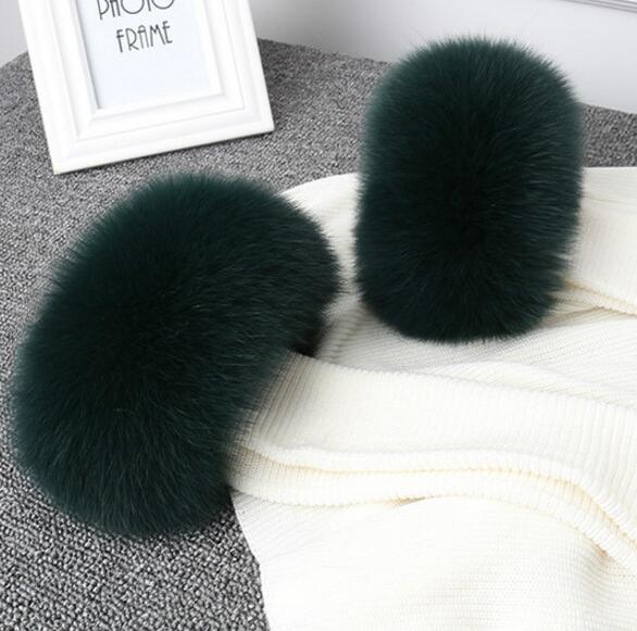 Women's winter coat 100% genuine fox fur cuff lady's winter down coat full piece fox fur arm sleeve fur gloves TB023