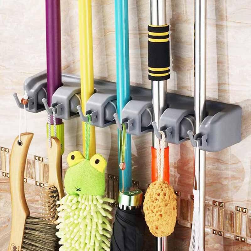 Escova Titular Rack de Armazenamento Mop Broom Titular Organizador de Cozinha Fixado Na Parede Pendurado Organizador de Cozinha Prateleiras Do Banheiro 5