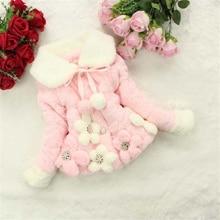 Рождество Зима младенческой искусственного меха кролика волос пальто для маленьких девочек Flower теплые хлопковые куртки детские плюшевые б...(China (Mainland))