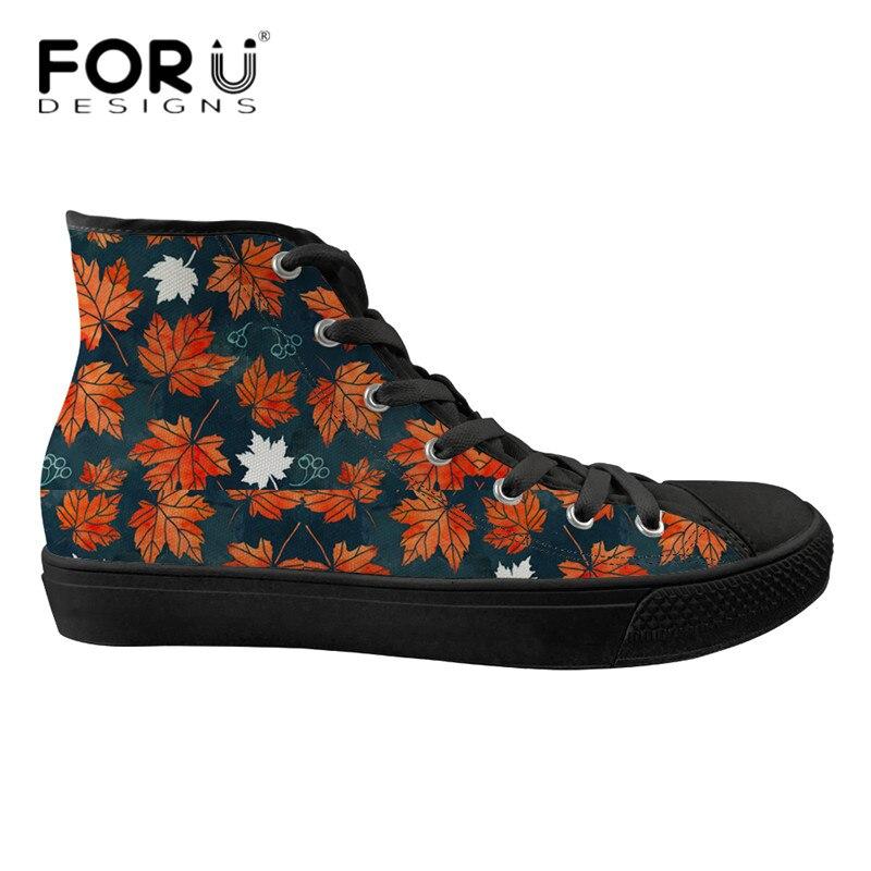 FORUDESIGNS Feuilles D'érable High Top Chaussures Toile Femmes Respirant Mesh Sneakers Classique Lace Up Appartements pour les Dames Vulcaniser Chaussures