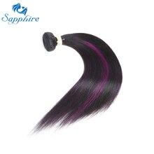 Сапфир прямые Фиолетовый Ombre Наращивание волос фиолетовый выметания бразильские прямые пучки волос плетение для волос Salon 10-24 дюйм(ов)