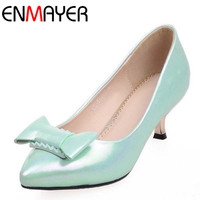 ENMAYER Women Pointed Toe Cute Bowtie Shoes Pumps Low Heels Ladies Shoes Woman Kitten Heel Pumps