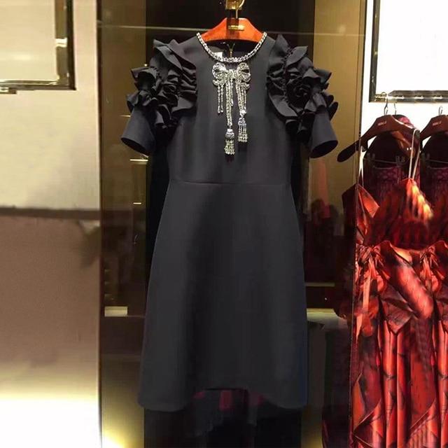 2018 Winter Christmas Runway Designer Black Mini Dress Women's Fashion Ruffles Crystal Beading A Line Dresses Plus Size Clothing