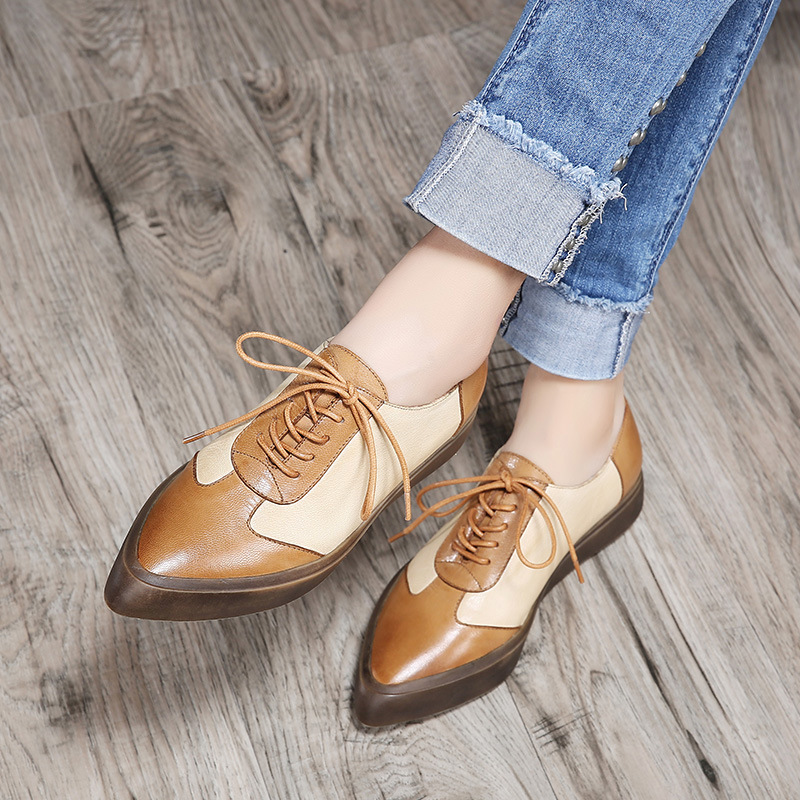 2018 Spring Pointed Women Platform Shoes Woman Leather Flats Lace Up Footwear Female Flat Oxford Shoes For Women girls fashion punk shoes woman spring flats footwear lace up oxford women gold silver loafers boat shoes big size 35 43 s 18